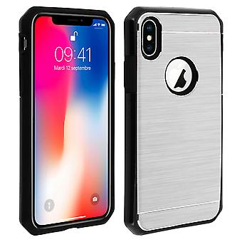 iPhone X / XS Protective Soft Silicone Case Aluminum Reinforced edges, Silver