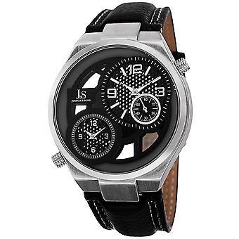 Joshua & Sons Men's JS83SS Swiss Quartz Dual Time Leather Strap Watch