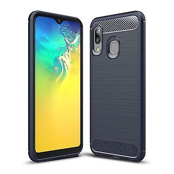 Samsung Galaxy A20e TPU Case Carbon Fiber Optics Brushed Protection Case Blue