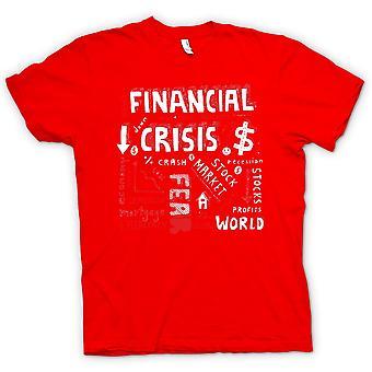 Mens T-shirt - Financial Crisis Word Cloud - World Crash