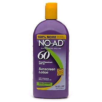 No-ad sunscreen lotion, water resistant, spf 60, 16 oz