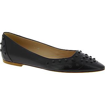 Tod's Women's Fashion Pointed toe besetzt Ballett Wohnungen Schuhe in schwarzem Leder