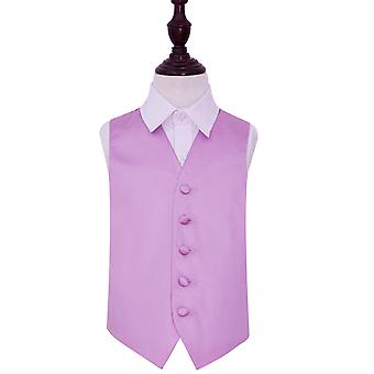 Boy's Lilac Plain Satin Wedding Waistcoat