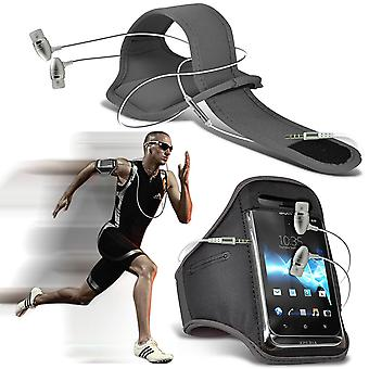 ( Grey + Earphones) BLACKVIEW E7 case High Quality Fitted Sports Armbands Cover By i-Tronixs