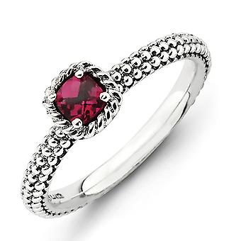 2.5mm Sterling Silver Stackable Expressions Checker-cut Cr Ruby Antiqued Ring - Ring Size: 5 to 8