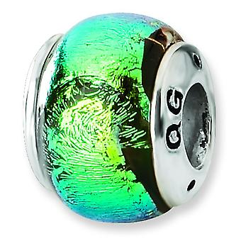 Sterling Silver Reflections Green Dichroic Glass Bead Charm