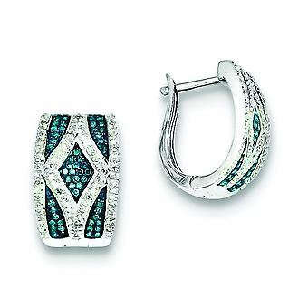 Sterling Silver Polished Prong set Gift Boxed Hinged hoop Rhodium-plated Blue and White Diamond Earrings