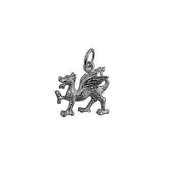 Silver 17x15mm Welsh Dragon Pendant or Charm
