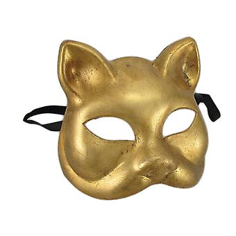 Gold Finish Half Face Carnivale Gatto Cat Masks