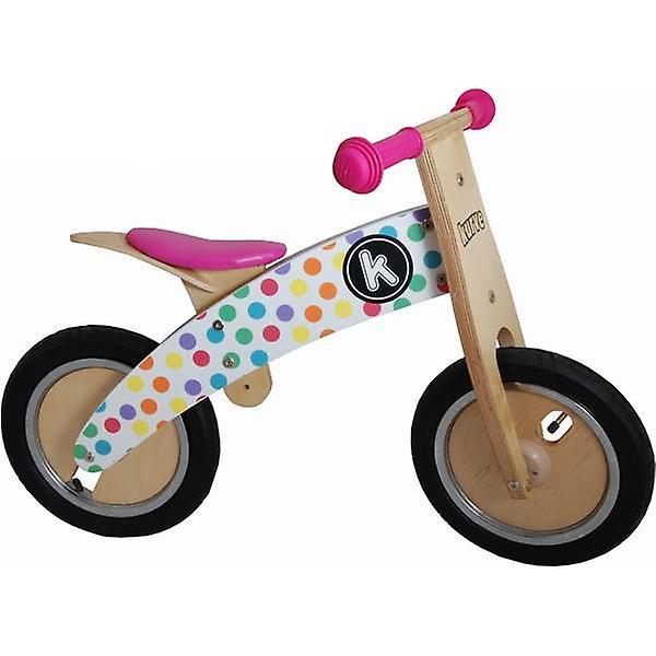 Kiddimoto Kurve- Bike Pastel Dotty Wooden balance Bike