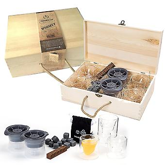 Clydescot GLASGOW - 21pcs Whiskey Gift Set - 12 Reusable Ice Cubes Granite Cooling Stones Cool Drinks Without Watering It Down + 4 Skull Glass Whiskey Tumblers 75ml + 2 Giant Ice Ball Making Mold 2.5 Slow Melting + Scorched Smoked Oak Whiskey Flavoring Stick + Beautiful Hand Crafted Wooden Gift Box.