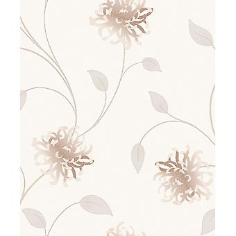 Flower Wallpaper Floral Textured Italian Vinyl Embossed Cream Gold Heavyweight
