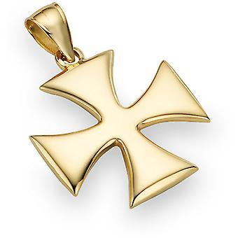 Heilige Krieger Kreuz Anhänger, 14K Gelbgold