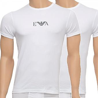 Emporio Armani Stretch BI-Pack Crew Neck T-Shirt, White, X-Large
