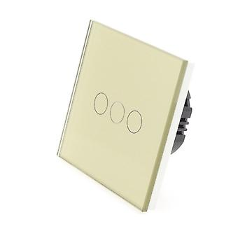 Jag LumoS guld glas 3 gänget 1 sätt Remote Touch LED Light Switch