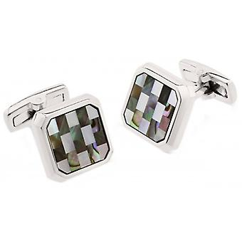 Duncan Walton Chadwick Mother of Pearl/Abalone Mosaic Cufflinks - Grey/Silver