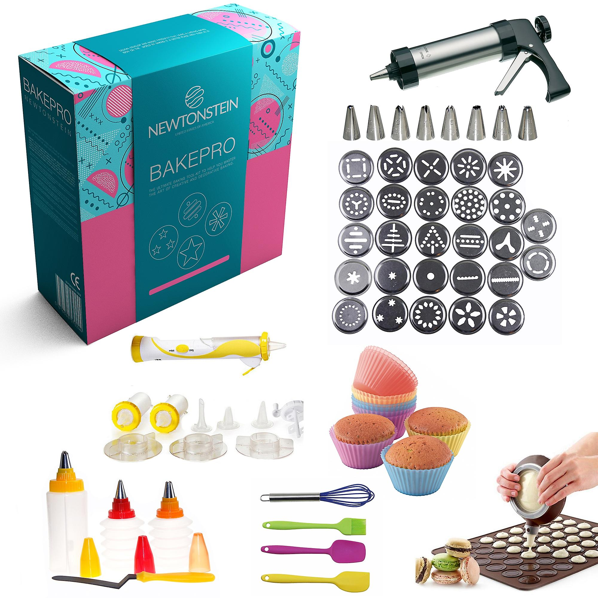 BakePro - 72 Pcs Deluxe Stainless Steel Cake Biscuit and Icing Set with 27 Discs 8 Nozzles Macaron Baking Sheet + Piping Kettle 14pcs ELECTRIC Decorating Pen Set 8 Pc Icing and Fondant Decorating Bottles with Double Colour Option Angled Spatula 6 Pcs Soft Silicon Cup Cake Mold and 4 Preparation Accessories + FREE IDEAS Booklet