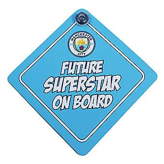 Manchester City FC Official Future Superstar Football Crest Baby On Board Car Sign