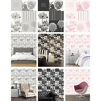 Coco Wallpaper Modern Collage Flowers Floral Roses Stripes 3 Colours Crown