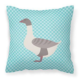 Buff ganso gris de espalda Check azul tejido decorativo de la almohadilla