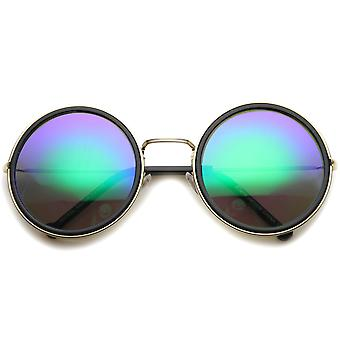 Womens Metal Round Sunglasses With UV400 Protected Mirrored Lens