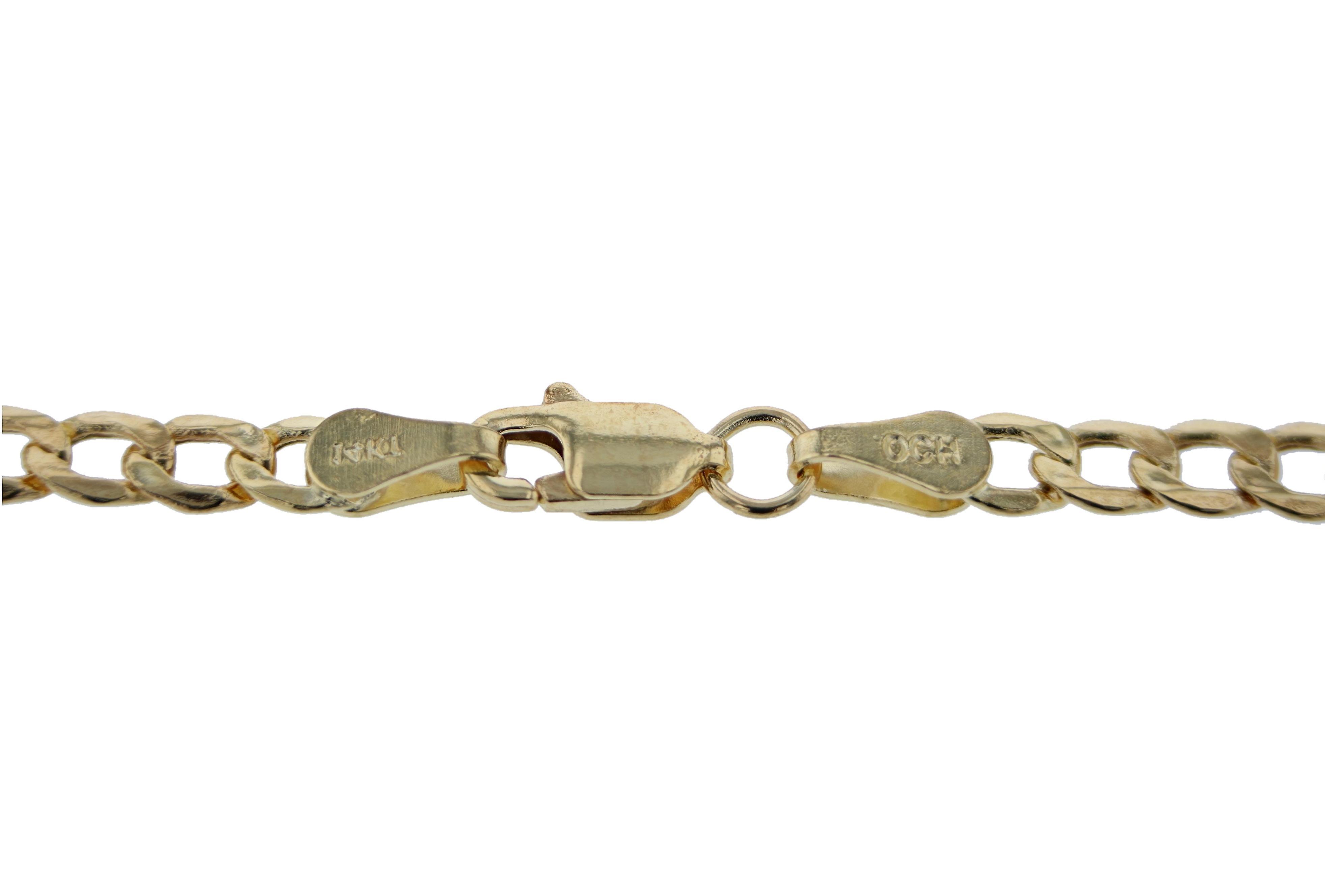 Bracelet chaîne cubaine de Curb creux or jaune 14 k et de la cheville, 0,14 pouce (3,5 mm)
