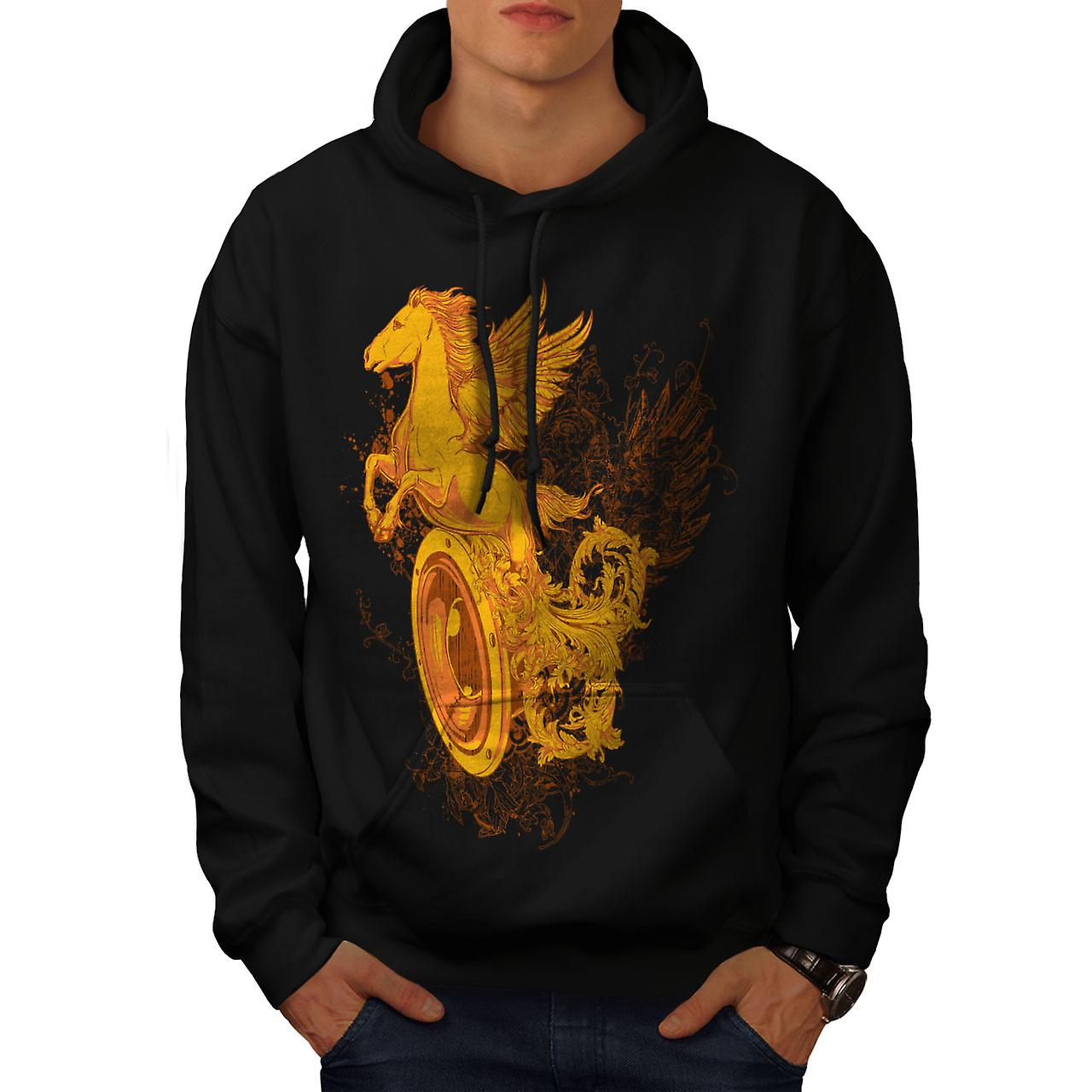 Pegasus Freedom Art Music Men Black Hoodie | Wellcoda