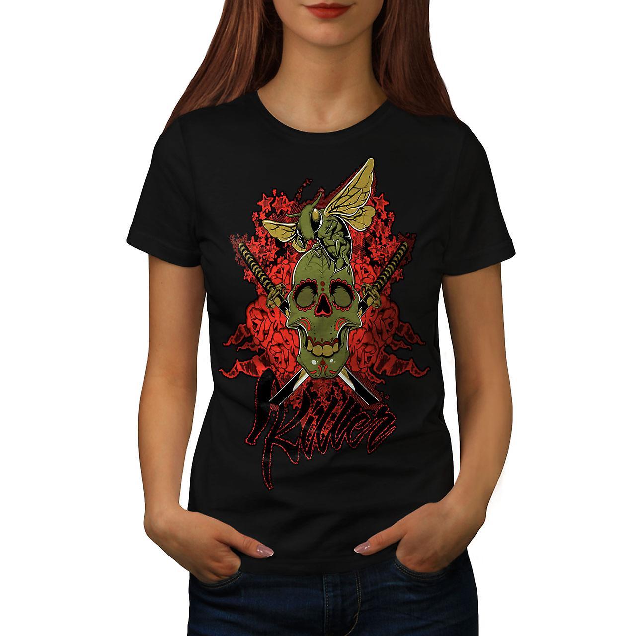 Killer Rose Bug Skull Women Black T-shirt | Wellcoda