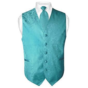 Men's Paisley Design Dress Vest & NeckTie Neck Tie Set