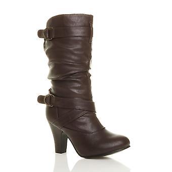 Ajvani womens mid high block heel zip buckles ruched calf slouch boots