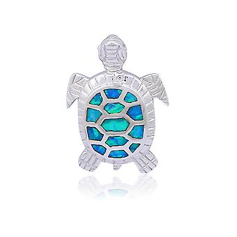 Woman plated silver turtle pendant and Opal