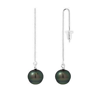 Boucles d'Oreilles Pendantes Perle de Tahiti et Argent 925/1000