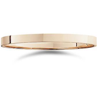 Banda di alta lucido matrimonio 14k oro rosa piatta da 2 mm