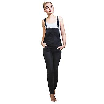 Black Denim Skinny Fit Dungarees Bib Overalls Narrow Leg