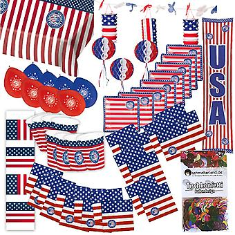 Party box USA America party 50-teilig decoration stars and stripes party package