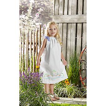 Daisy Bow Swag Pillowcase Dress Stamped For Embroidery Kit-Size 3-8