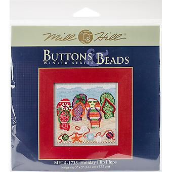 Holiday Flip Flops Buttons & Beads Counted Cross Stitch Kit-5