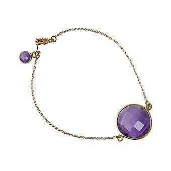 Gemshine - donna - Bracciale - placcato oro - viola - viola - ametista - sfaccettato - 19cm