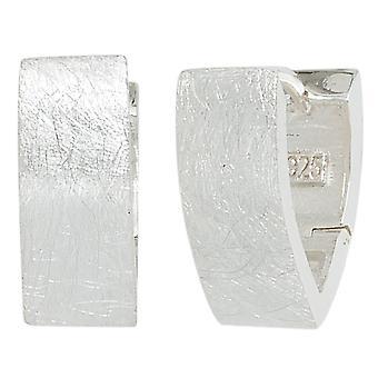 Moderne Creolen oval  925 Sterling Silber eismatt Ohrringe silber