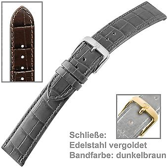 Watch strap for mens watch brown calf leather u-strap men 22 mm
