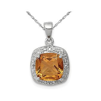 1.80 Carat (ctw) Citrine Drop Halo Pendant Necklace in Sterling Silver with Chain