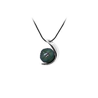 Collier Mixte en Coton noir, Pendentif Lune Perle de Tahiti Cerclée 9 mm et Argent 925/1000