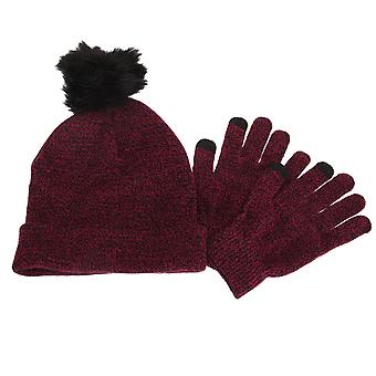 Foxbury Womens/Ladies Touchscreen Winter Gloves And Pom Pom Hat Set