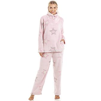 Camille luxuriöse Supersoft Fleece leichte Rosa Sterne Print-Pyjama-Set