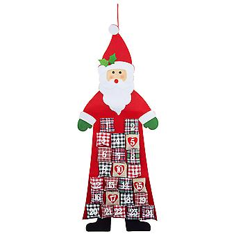 Large Fabric Father Christmas Shaped Advent Calendar