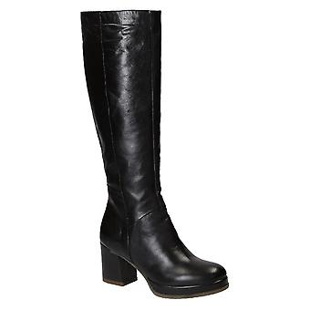 Handmade block heeled knee high boots in black leather