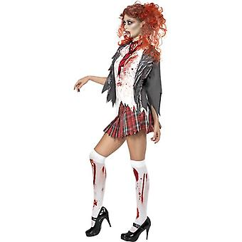 High School Horror Zombie Schoolgirl Costume, UK Dress 12-14