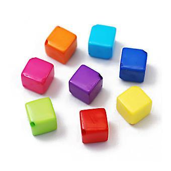 Packet 40+ Mixed Acrylic 8mm Cube Beads HA25660