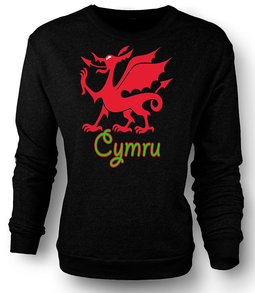 Mens Sweatshirt Welsh Dragon - Cymru