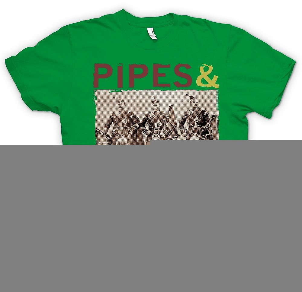 Mens T-shirt - Pipes And Drums - Spirit Of The Highlands - Scots Guards